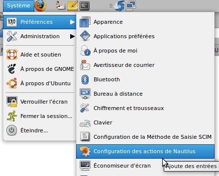 configuration actions nautilus