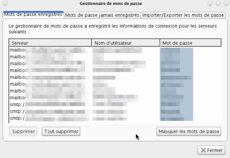 Password Exporter -Affichage des mots de passe