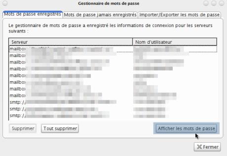 Password Exporter - Liste des comptes